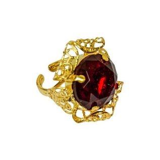 Sinterklaas ring ronde steen rood deluxe
