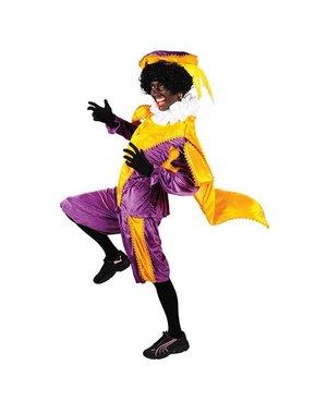 Pietenpak velours met cape paars/geel