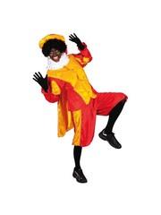 Pietenpak velours met cape rood/geel