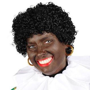 Zwarte Piet pruik luxe wetlook kanekalon