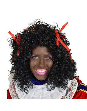 Dames Zwarte Piet pruik met rode strikjes
