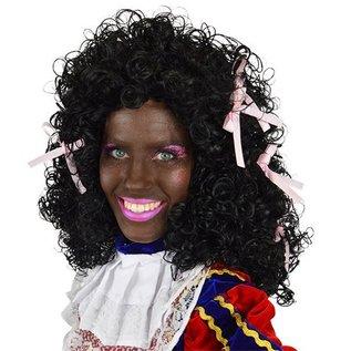 Dames Zwarte Piet pruik met roze strikjes
