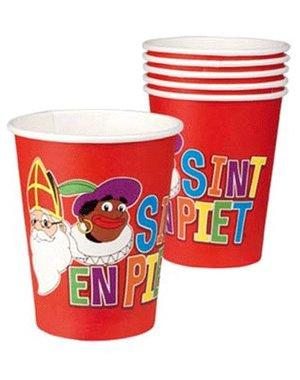 Rode Sint en Piet weggooi bekers