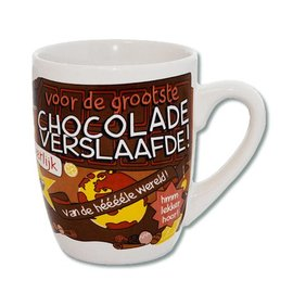 Cartoon mok chocolade verslaafde