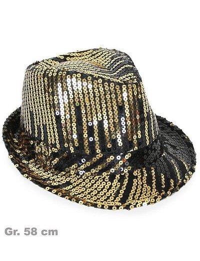 Zwart/gouden hoed met pailletten