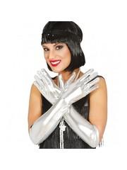 Zilveren glimmende handschoenen