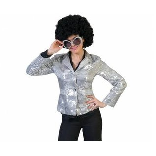 Zilveren pailletten jasje colbert disco