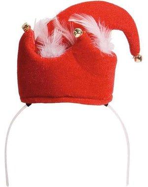 Diadeem met kerstmuts met belletjes