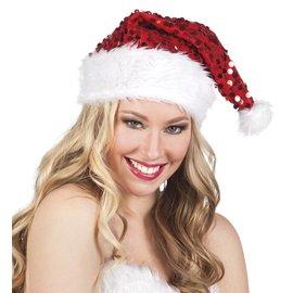 Kerstmuts met rode pailletten