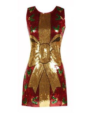 Kerst jurkje met rode pailletten cadeau