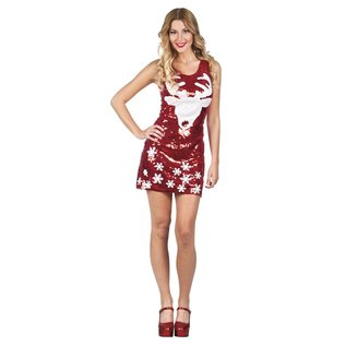 Rode kerst jurk met pailletten Rudolf print.