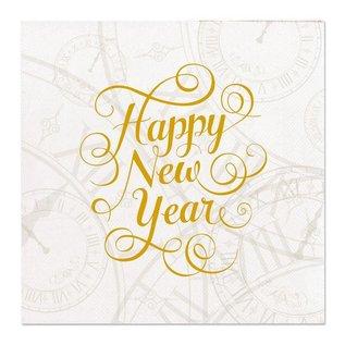 Happy New Year wit gouden servetten