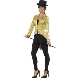 Dames jasje tailcoat met gouden pailletten