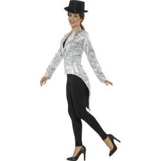 Dames jasje tailcoat met zilveren pailletten