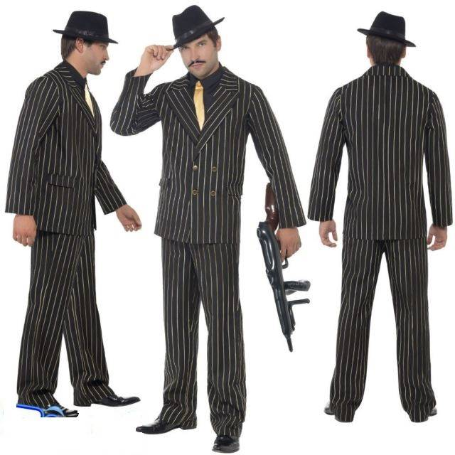Speciale Kostuums Heren.Goud Krijtstreep Heren Pak Kostuum
