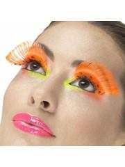 80's Neon oranje polka dot wimpers