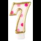 Kaars nummer 0 t/m 9 wit roze