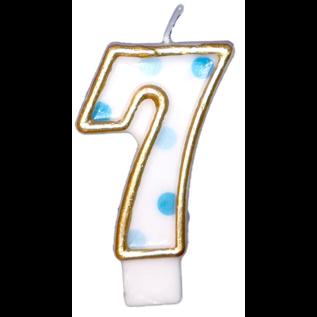 Kaars nummer 0 t/m 9 wit blauw