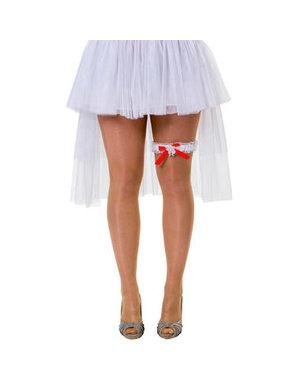 Witte Kousenband met rood strikje.