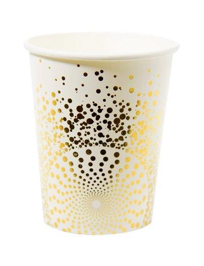 Witte bekers met goud design
