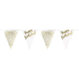 Wit gouden Happy Birthday Banner