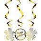 3x Wit gouden happy birthday swirls