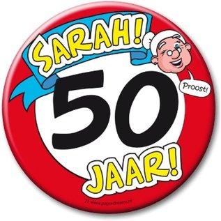 XL button Sarah 50 jaar