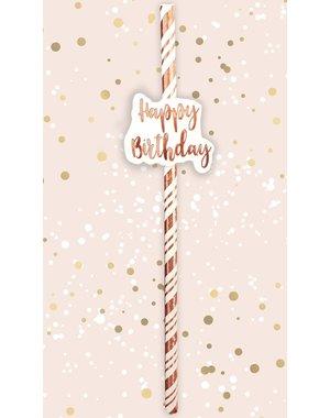 Papieren rietjes met Happy Birthday
