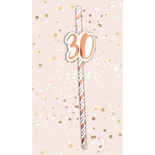 6x Papieren rietjes rose goud/wit 30jaar