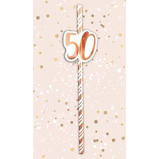6x Papieren rietjes rose goud/wit 50 jaar