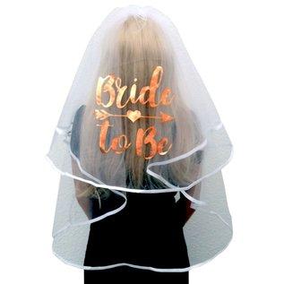 Witte Sluier met rosé gouden Bride to Be tekst
