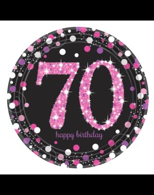 Zwart Roze Sparkling 70 jaar bordjes