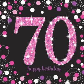 Zwart Roze Sparkling 70 jaar servetten