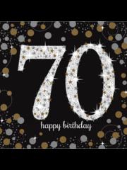 Zwart gouden Sparkling 70 jaar servetten