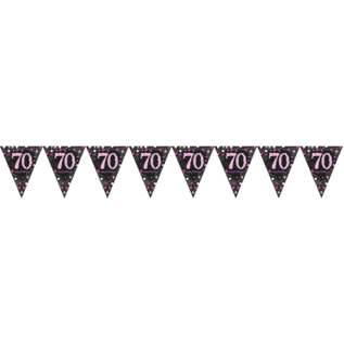 Zwart Roze Glitter 70 jaar Vlaggenlijn