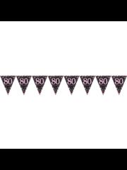 Zwart Roze Zilveren 80 jaar Vlaggenlijn