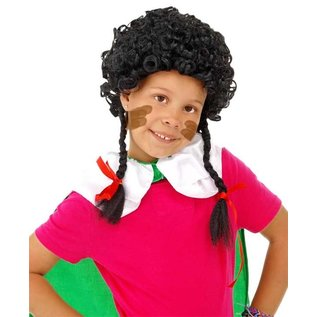 Zwarte Piet pruik met vlechtjes