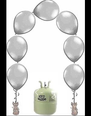Heliumfles met 25x Zilver Knoopballonnen Ballonboog