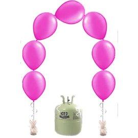 Heliumfles met 25x Fuchsia Knoopballonnen Ballonboog