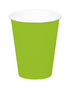 8x Groene Kartonnen Weggooi Bekers