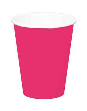 8x Roze Kartonnen Weggooi Bekers