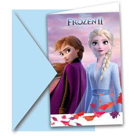 Kinderthema Uitnodigingen Frozen 2 - 6stk