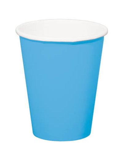 8x Blauwe Kartonnen Weggooi Bekers