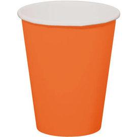 servies 8x Oranje Kartonnen Weggooi Bekers