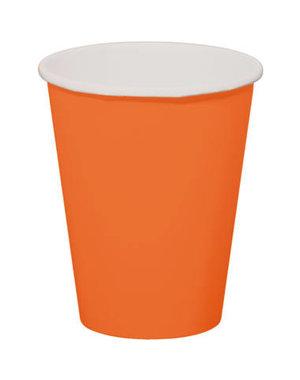 8x Oranje Kartonnen Weggooi Bekers