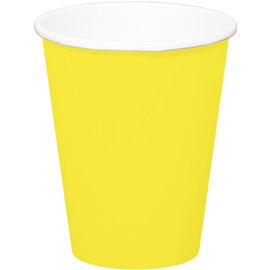servies 8x Gele Kartonnen Weggooi Bekers