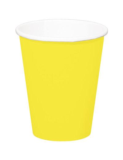8x Gele Kartonnen Weggooi Bekers