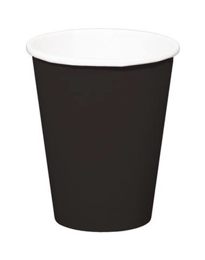 8x Zwarte Kartonnen Weggooi Bekers