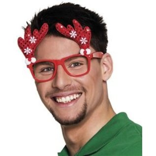 Kerst Accessoires Kerstbril Rendier - rood