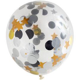 Confetti Ballonnen Stippen en Sterren Confetti Ballon  - 4stk